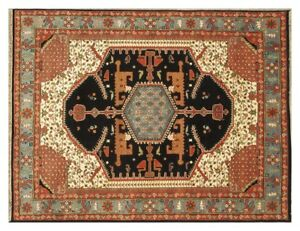 Traditional-Rug-deals-Hand-Knotted-Rug-Wool-8-039-x-10-039-Black-Serapi-Rug