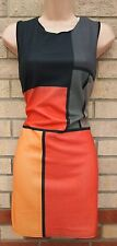 LUSTRE ORANGE YELLOW GREY BLOCK ABSTRACT PENCIL A LINE FORMAL PARTY DRESS 8 S