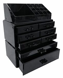 Image Is Loading Black Acrylic Makeup Organizer Drawers Box Make Up