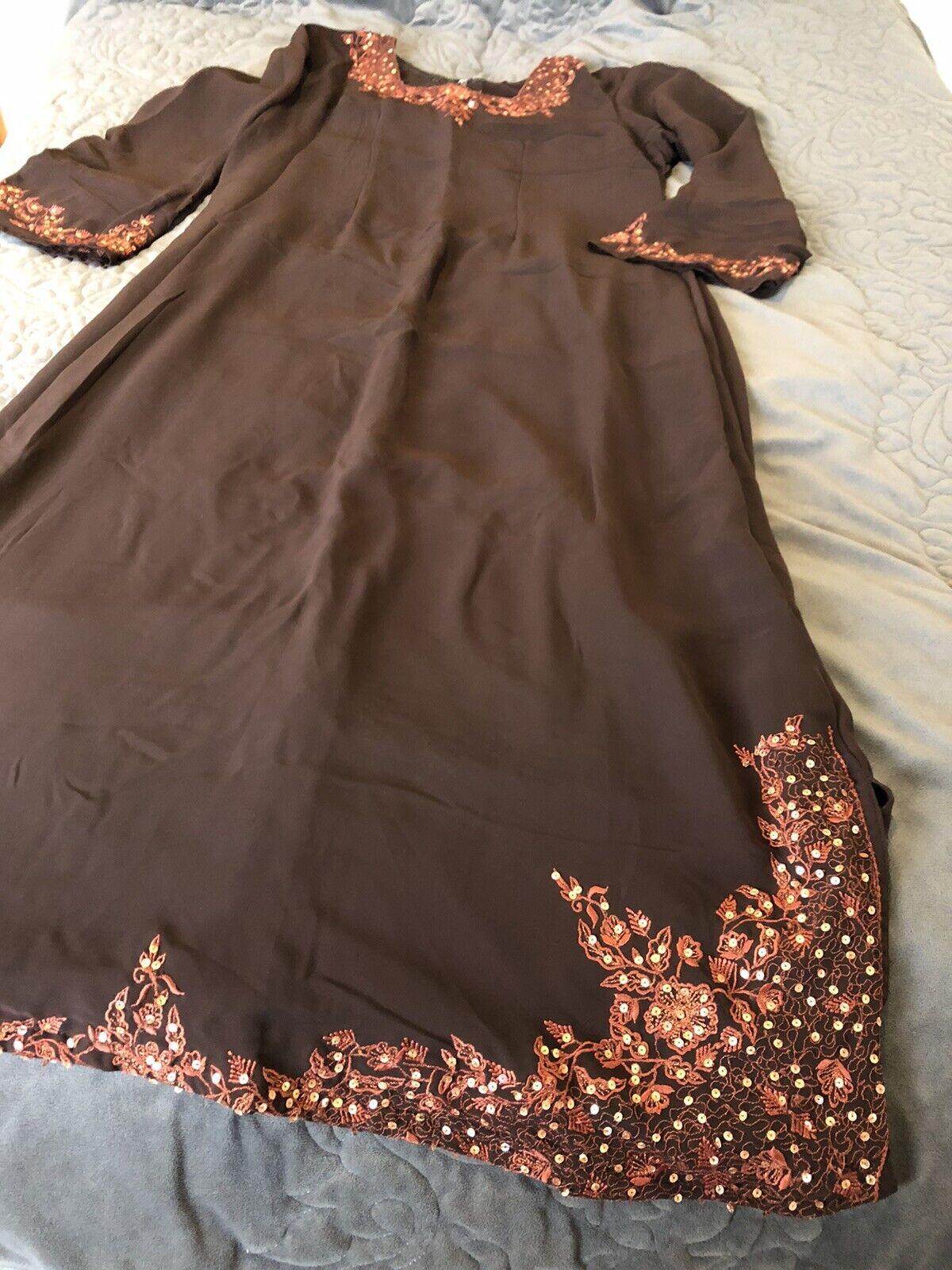 Abaya/ Jilbab Burka. Chocolate Colour Long Dress Size 58 Long Chest 42/44