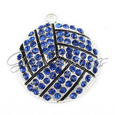 1PC New 35*39mm Blue Sports Volleyball Charm Pendant For Chunky Bead Necklace