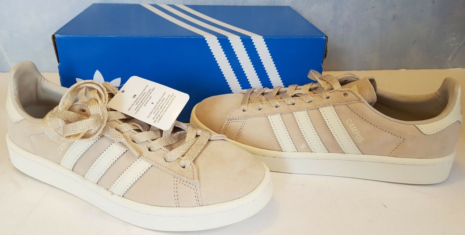 ADIDAS mens CLEAR BROWN/WHITE original CAMPUS BB0085 fashion SNEAKERS size 8