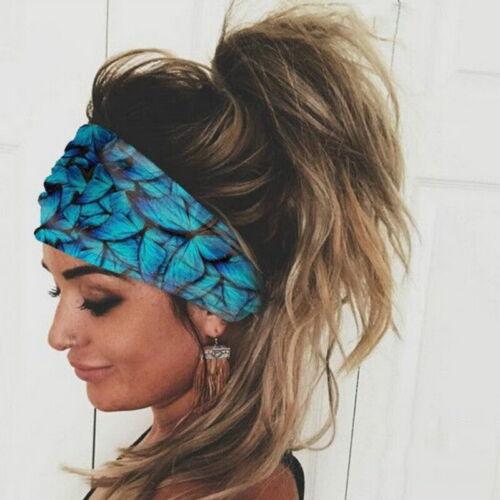 Women Butterfly Headband Elastic Wrap Turban Hair Band Hairband Sports Sweatband