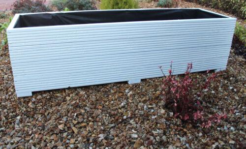 cm White 150x44x43 LARGE WIDE WOODEN GARDEN PLANTER DECKING TROUGH