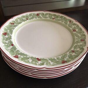 VILLEROY-amp-BOCH-Germany-JOY-NOEL-Holly-Pattern-10-1-2-034-DINNER-PLATES-Set-of-6
