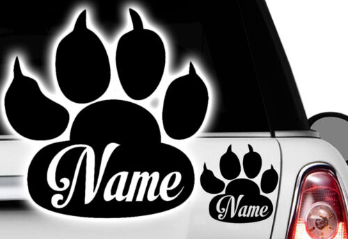 Dog WUNSCHNAME Pfote Cat Katzenpfote Hundepfote mit Namen Aufkleber Sticker
