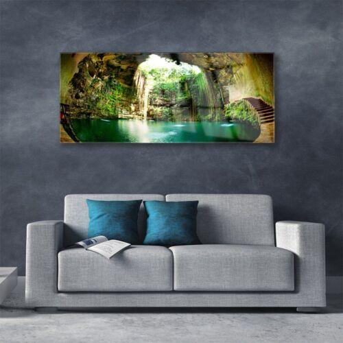 Wandbilder Glasbilder Druck auf Glas 125x50 Wasserfall Landschaft