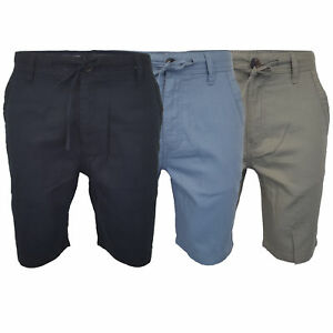 Mens-Linen-Chino-Shorts-Threadbare-Knee-Length-Half-Pants-Casual-Summer-Fashion