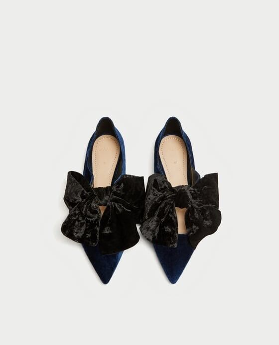 Zara Woman Velvet Ballerinas With Bow Größe 7.5 EUR 38 NWT