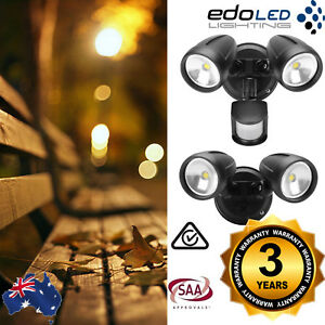NEW-26W-LED-Twin-Security-Spot-Flood-Light-Outdoor-Sensor-Black-IP44-Waterproof