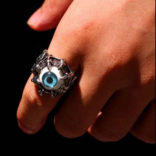 HGUK 1X Evil Eye Biker Mens Ring Stainless Steel Gothic Skull Dragon Claw BlueHG