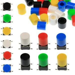A56-Tactile-Cap-amp-Switch-Momentary-Push-Button-Round-Flat-Keycap-6-Colours
