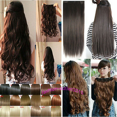 """17-27"""" 3/4 full head real high quality heat resistant clip in hair extensions"""