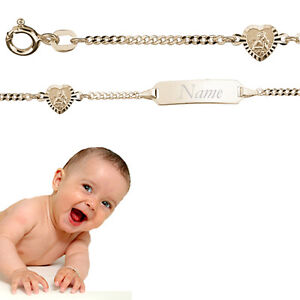 Baby Taufe Schutz Engel Herz Ident Armband mit Gravur Name Datum Echt Gold 333