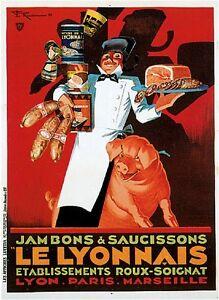 1900's French Le Lyonnais Paris Food & Wine Advertisement Art Poster Print