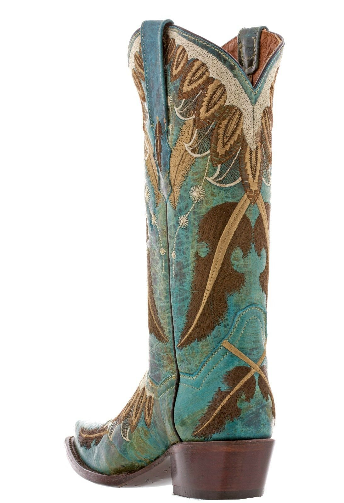 Womens Turquoise Embroidery Feathers Cowgirl Boots Casual Western Western Western Wear Snip Toe 976ebf