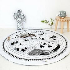 Soft Cotton Round Children Baby Play Fun Rug Game Mats Crawling Blanket Floor AS