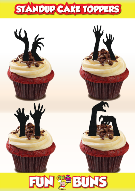 Zombie Hand Silhouette Mix Edible Standup Cake Toppers Scary
