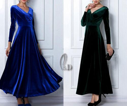 AU SELLER Womens S-3XL Vintage Velvet Cocktail Party Evening Maxi Dress dr099