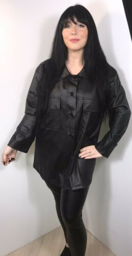 Leather Look Shirt Black Faux Squishably Soft Plus Size Fits 16 18 20 22 NEW