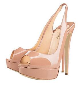 effb40a3cfcd MERUMOTE Women s Patent Peep Toe Slingbacks High Heels Stilettos ...