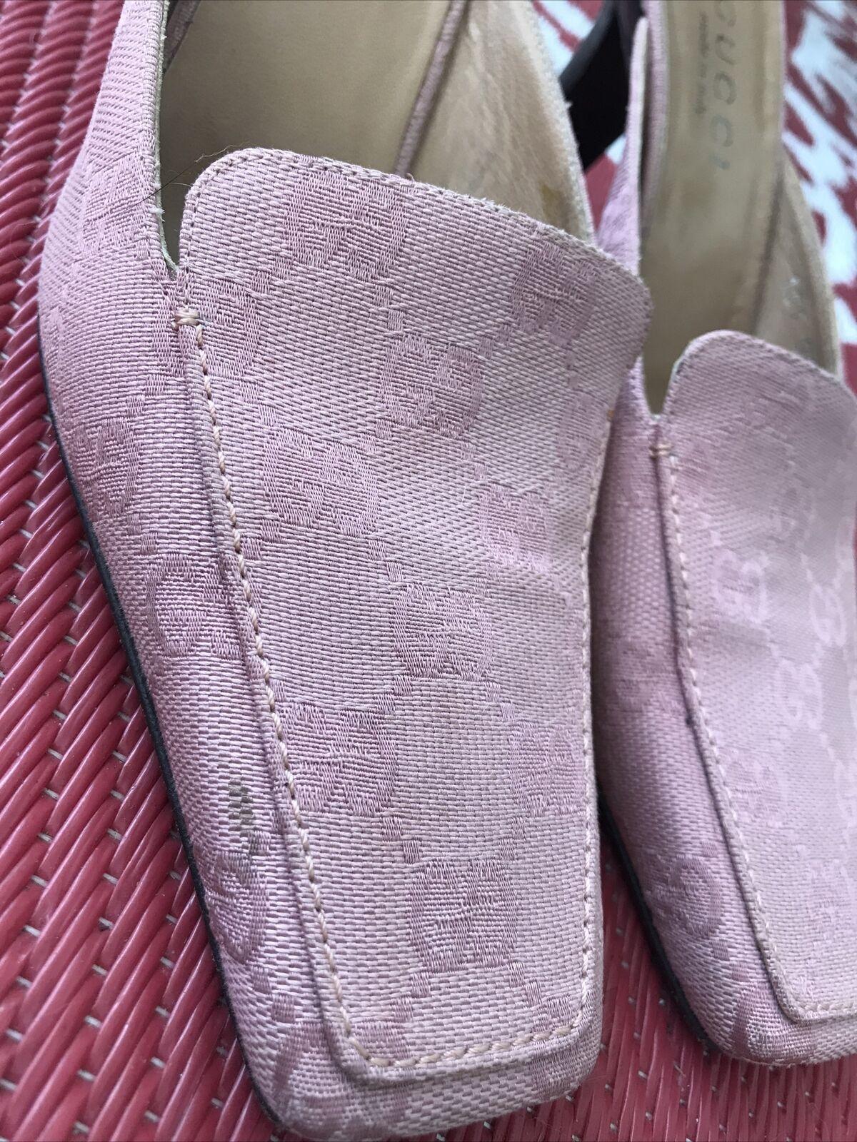 Vintage GUCCI GG Canvas Mule Classic Shoes Rosa W… - image 12