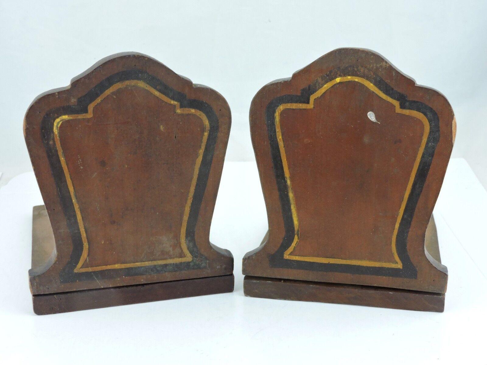 Vintage Primitive Handmade Homemade Wooden Bookends Book Ends Arts & Crafts