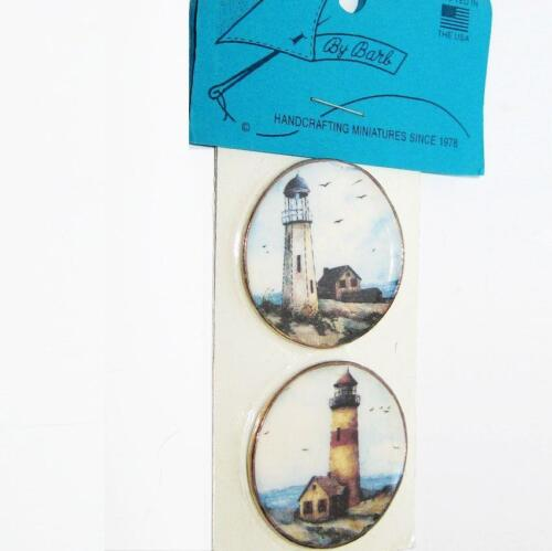 DOLLHOUSE Lg. Plate Pair 2 Lighthouses CDD537 By Barb Miniature