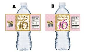 20-SWEET-16-SIXTEEN-PINK-WHITE-amp-GOLD-BIRTHDAY-PARTY-FAVORS-WATER-BOTTLE-LABELS