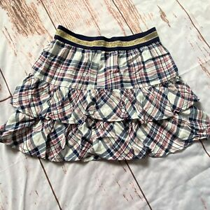 Epic-Threads-girls-Holiday-Ivory-plaid-blue-and-maroon-skirt-size-Large-NWT