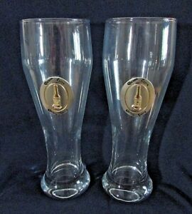 CORONA-EXTRA-Pilsner-Beer-Glasses-20-oz-Silver-amp-Gold-Corona-Emblem-Set-of-2
