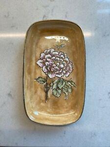 Vintage-Hand-Painted-Porcelain-China-Trinket-Dish-Floral-Gold-Pink-Iridescent