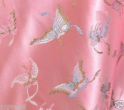 br 79 pink butterfly satin brocade fabric cloth by yard heavy weight material