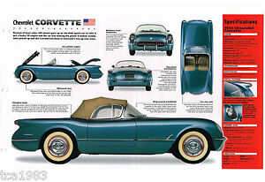 1954 Chevrolet Chevy Corvette Spec Feuille / Brochure / Flyer