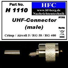1 Stück UHF- (PL) Stecker (Crimp) für Aircell 5 / RG 58 Koaxkabel 50 Ω (H1110)