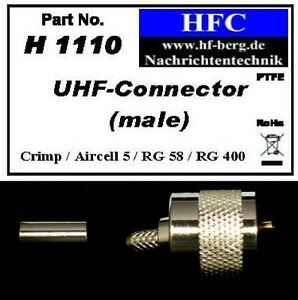 1-Stueck-UHF-PL-Stecker-Crimp-fuer-Aircell-5-RG-58-Koaxkabel-50-H1110
