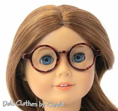 """Round Tortoise Shell Glasses made for 18/"""" American Girl Doll Clothes"""