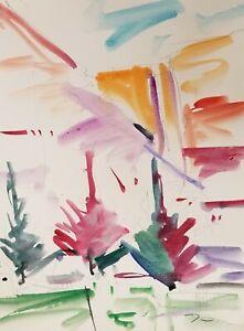 JOSE-TRUJILLO-ORIGINAL-Watercolor-Painting-Landscape-Fauvism-COA-Impressionism