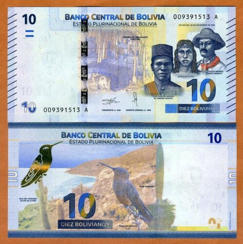 2018 P-New Bolivia 10 Bolivianos First Complete redesign in 30 years UNC