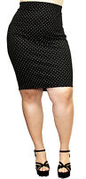 Black Polka Dot Rockabilly Greaser 50s Vintage Skirt Pin Up Plus Size Fitted