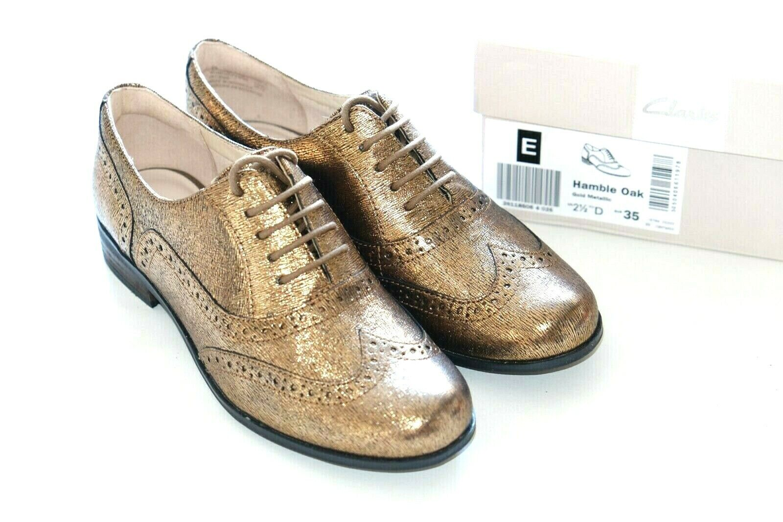 Clarks gold Metallic Leather ladies shoes flats brogues 2.5 35 D BMWB