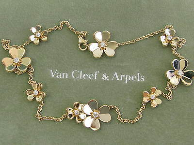 Van Cleef & Arpels 18Kt Frivole Flower Diamond YG Necklace .69Ct VCA BOXES!