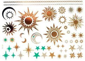 bfef12bef Temporary Gold Sun Stars Moon Tattoos Glitter Flash Art Temp Tattoo ...