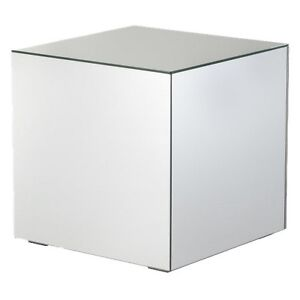Mirrored Cube Living Room Accent Side End Table