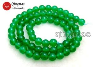 """6mm Round Natural Green Jade Gemstone for Jewelry Making DIY Beads strands 15"""""""