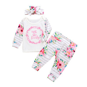 Newborn Baby Girl Romper Tops Jumpsuit Floral Pants Headband Clothes Outfits Set