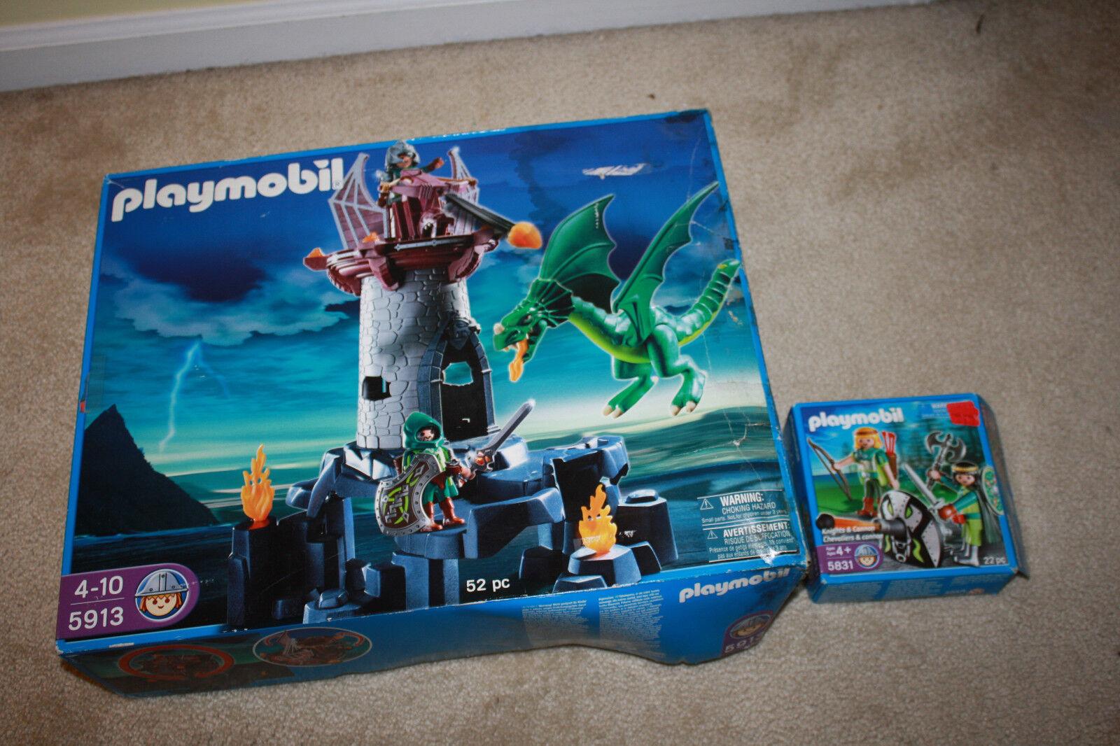 Playmobil 5913 Dragon attaque Tour et 5831 Chevaliers & CANNON-NEUF-R515