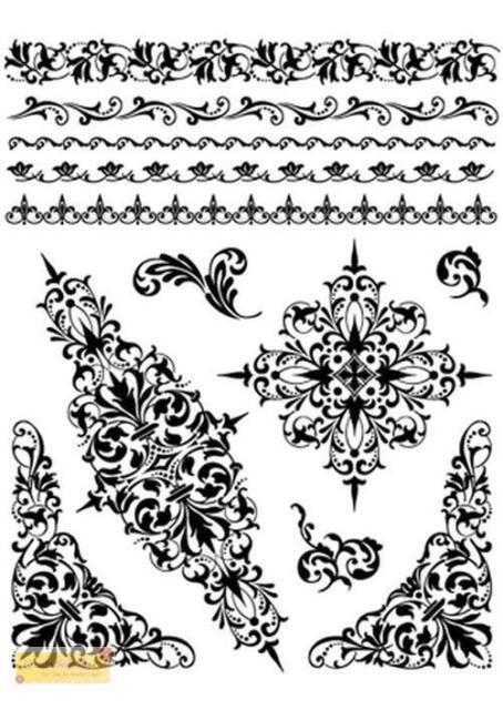 Viva Decor Silikon Stempel SET  Bordüren und Ornamente,clear stamp,Motiv