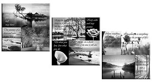 Set Of 3 Canvas Art Pictures Black White Positive Thinking Quotes