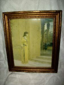 ART-DECO-PERSIAN-LADY-PRINT-QUEEN-ESTHER-STUNNING-1915-W-L-TAYLOR-OLD-GOLD-FRAME